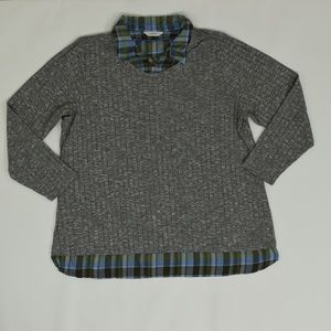 C J Banks Plus 2X Gray   Sweater Polyester Solid